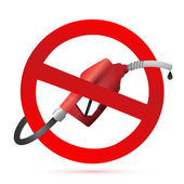Rejected sign with a gas pump nozzle — Stock Photo