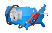 US map with a gas pump nozzle — Stock Photo