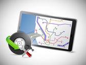 Tablet roda e gps de carro — Foto Stock