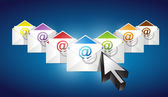 Checking emails. set of envelopes with email — Stock Photo