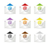 Set of envelopes with email symbol — Stock Photo