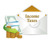 Income taxes mail and cash — Stock Photo