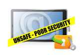 Unsafe poor security technology concept — Stock Photo