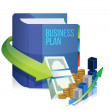 Business plan book, money and graph illustration — Stock Photo