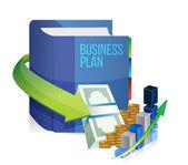 Business plan bok, pengar och graf illustration — Stockfoto
