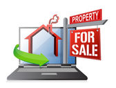 Laptop real estate search and buy concept — Stock Photo