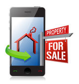 Smartphone real estate search and buy concept — Stock Photo