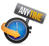 Anytime icon with clock — Stock Photo