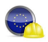 European flag and construction helmet — Stock Photo