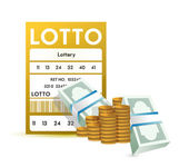 Lottery ticket and money, close up illustration — Stock Photo