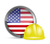 American flag and construction helmet — Stock Photo
