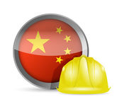 China flag and construction helmet — Stockfoto