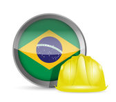 Brazilian flag and construction helmet — Stock Photo