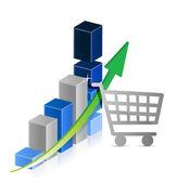 Shopping cart graph business illustration design — Stock Photo