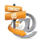 Correo electrónico contacte con nosotros en sign diseño ilustración — Foto de Stock