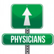 Stock Photo: Physicians road sign illustration