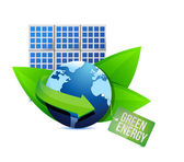 Solar panel and Green energy label — Stock Photo