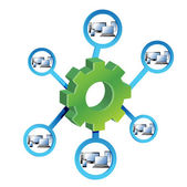 Network Diagram and gears — Stock Photo
