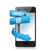 Contact us sign and phone — Stockfoto