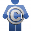 Royalty-Free Stock Photo: Guy Holding Copyright sign illustration