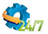 行业工作 24 7 概念图 — 图库照片