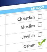 Pick your religion blue survey illustration — Stock Photo