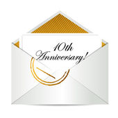 Happy 10th Anniversary gold mail letter — Stock Photo