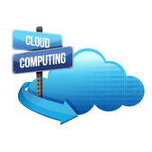 Cloud computing road sign illustration design — Stock Photo