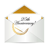 Happy 25th Anniversary gold mail letter — Stock Photo