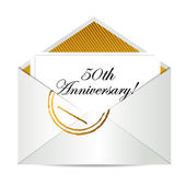 Happy 50th Anniversary gold mail letter — Stock Photo