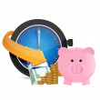 Stock Photo: Time to save money. concept illustration