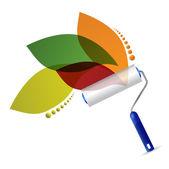 油漆辊和自然枫叶插画设计 — 图库照片
