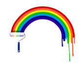 Paint roller and ink rainbow illustration design — Stock Photo