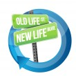 oud versus nieuw leven verkeersbord levenscyclus — Stockfoto #26018823