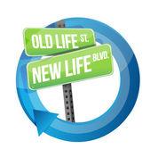 Cycle de vie ancienne contre le nouveau panneau de signalisation de la vie — Photo