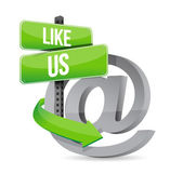 Like us online at sign illustration design — Stock Photo