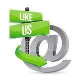 Like us online at sign illustration design — Stock Photo