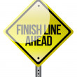 A road sign announcing the finish line coming up. — Stock Photo