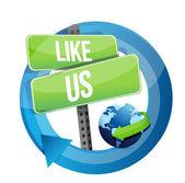 Like us road sign illustration design — Stock Photo