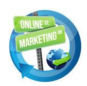 Online-marketing-straßenschild und globus — Stockfoto