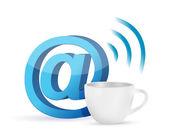 Internet coffee mug concept illustration — Stock Photo