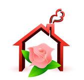 Disegno di illustrazione di casa fiore — Foto Stock