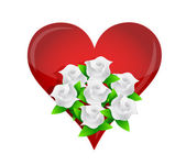 Heart white flower wedding bouquet illustration — Stock Photo