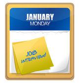 Palabras de la entrevista de trabajo escritos en el calendario — Foto de Stock