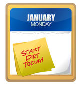 Start diet today words written on the calendar — Стоковое фото