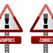 Постер, плакат: Beware of Vampires and Zombies illustration