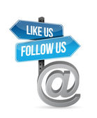Like us and follow us online sign illustration — Stock Photo