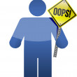 """Man, person with a """"oops"""" sign in hand. — Stock Photo"""
