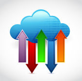 Cloud computing information transferring — Stock Photo