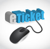 The word e-ticket connected to a computer mouse — Stock Photo